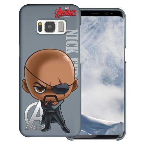 Galaxy S7 Edge Case Marvel Avengers [Slim Fit] Thin Hard Matte Surface Excellent Grip Cover - Mini Nick Fury