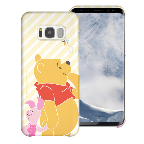 Galaxy S8 Case (5.8inch) [Slim Fit] Disney Pooh Thin Hard Matte Surface Excellent Grip Cover - Stripe Pooh Bee