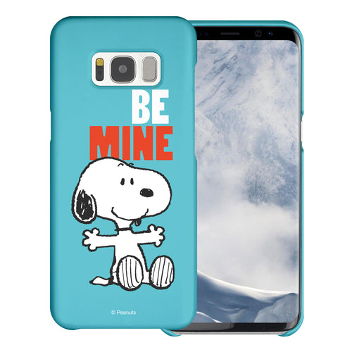 Galaxy S8 Case (5.8inch) [Slim Fit] PEANUTS Thin Hard Matte Surface Excellent Grip Cover - Snoopy Be Mine Cyan