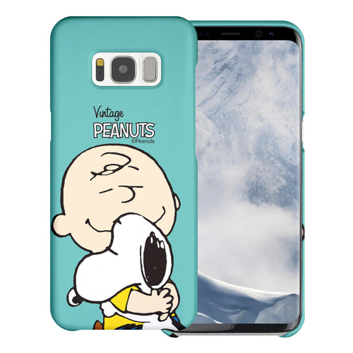 Galaxy S8 Plus Case [Slim Fit] PEANUTS Thin Hard Matte Surface Excellent Grip Cover - Face Charlie & Snoopy