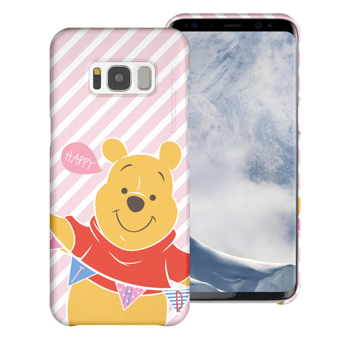 Galaxy S7 Edge Case [Slim Fit] Disney Pooh Thin Hard Matte Surface Excellent Grip Cover - Stripe Pooh Happy