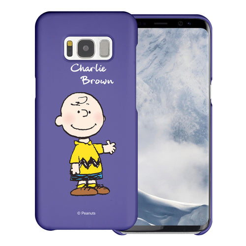 Galaxy S8 Plus Case [Slim Fit] PEANUTS Thin Hard Matte Surface Excellent Grip Cover - Charlie Brown Stand Purple