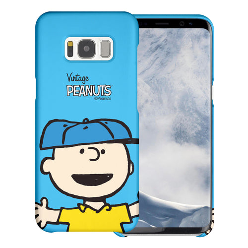 Galaxy S8 Plus Case [Slim Fit] PEANUTS Thin Hard Matte Surface Excellent Grip Cover - Face Charlie Brown