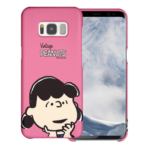 Galaxy S8 Case (5.8inch) [Slim Fit] PEANUTS Thin Hard Matte Surface Excellent Grip Cover - Face Lucy