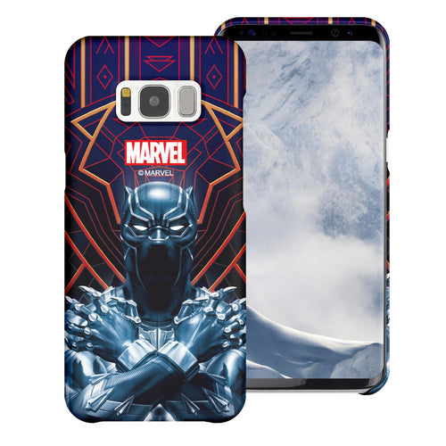 Galaxy S6 Case (5.1inch) Marvel Avengers [Slim Fit] Thin Hard Matte Surface Excellent Grip Cover - Black Panther Face Lines