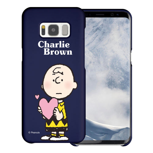 Galaxy S8 Plus Case [Slim Fit] PEANUTS Thin Hard Matte Surface Excellent Grip Cover - Charlie Brown Big Heart