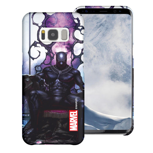 Galaxy S6 Case (5.1inch) Marvel Avengers [Slim Fit] Thin Hard Matte Surface Excellent Grip Cover - Black Panther Sit