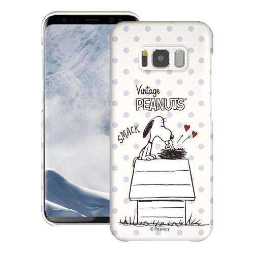Galaxy S8 Plus Case [Slim Fit] PEANUTS Thin Hard Matte Surface Excellent Grip Cover - Smack Snoopy Birds