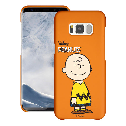 Galaxy S8 Plus Case [Slim Fit] PEANUTS Thin Hard Matte Surface Excellent Grip Cover - Simple Charlie Brown