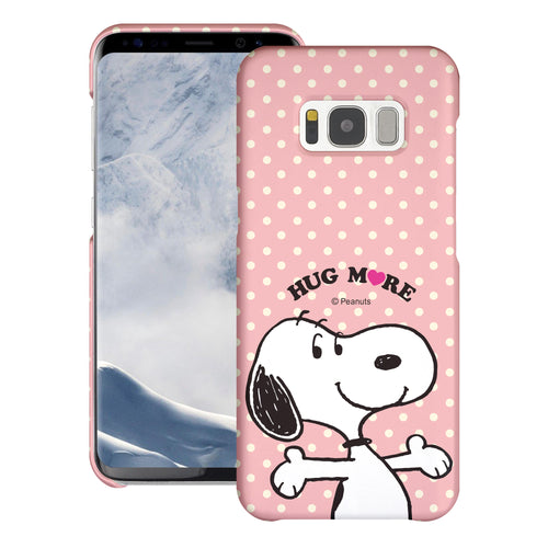 Galaxy S8 Plus Case [Slim Fit] PEANUTS Thin Hard Matte Surface Excellent Grip Cover - Hug Snoopy