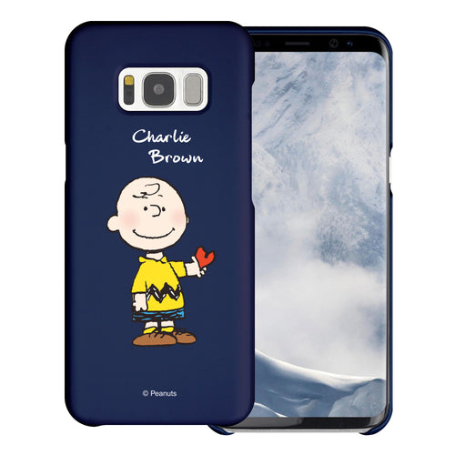 Galaxy S8 Case (5.8inch) [Slim Fit] PEANUTS Thin Hard Matte Surface Excellent Grip Cover - Charlie Brown Stand Navy