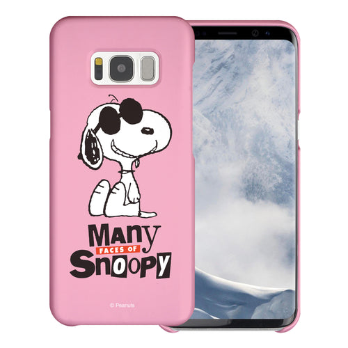 Galaxy S8 Plus Case [Slim Fit] PEANUTS Thin Hard Matte Surface Excellent Grip Cover - Snoopy Face Baby pink