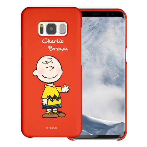 Galaxy S8 Plus Case [Slim Fit] PEANUTS Thin Hard Matte Surface Excellent Grip Cover - Charlie Brown Stand Red