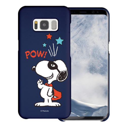 Galaxy S8 Case (5.8inch) [Slim Fit] PEANUTS Thin Hard Matte Surface Excellent Grip Cover - Snoopy Pow Navy