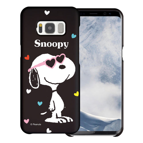 Galaxy S8 Plus Case [Slim Fit] PEANUTS Thin Hard Matte Surface Excellent Grip Cover - Snoopy Heart Glasses Black