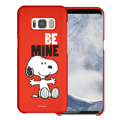 Galaxy S8 Plus Case [Slim Fit] PEANUTS Thin Hard Matte Surface Excellent Grip Cover - Snoopy Be Mine Red
