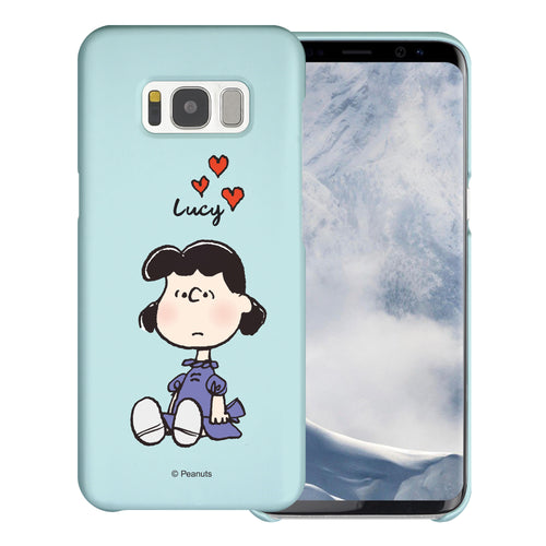 Galaxy S8 Plus Case [Slim Fit] PEANUTS Thin Hard Matte Surface Excellent Grip Cover - Lucy Heart Sit