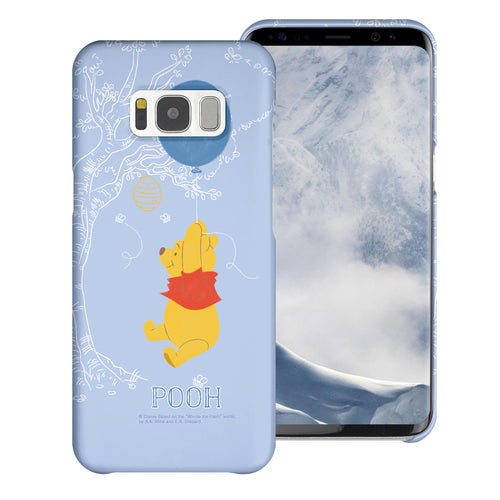 Galaxy S8 Case (5.8inch) [Slim Fit] Disney Pooh Thin Hard Matte Surface Excellent Grip Cover - Balloon Pooh Sky