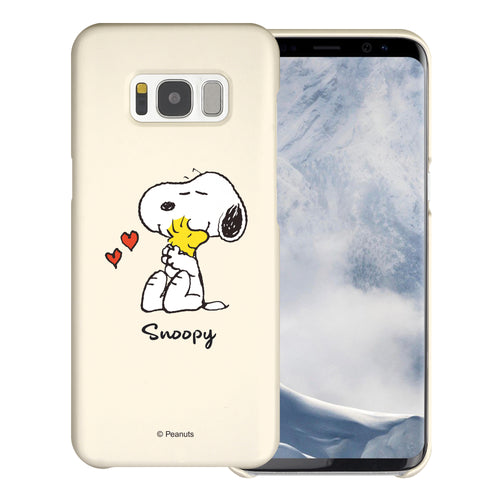 Galaxy S8 Case (5.8inch) [Slim Fit] PEANUTS Thin Hard Matte Surface Excellent Grip Cover - Snoopy Woodstock Hug