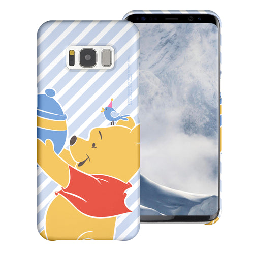 Galaxy S8 Case (5.8inch) [Slim Fit] Disney Pooh Thin Hard Matte Surface Excellent Grip Cover - Stripe Pooh Bird