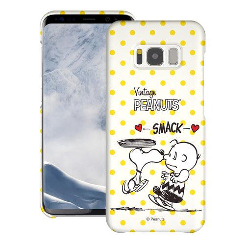 Galaxy S8 Plus Case [Slim Fit] PEANUTS Thin Hard Matte Surface Excellent Grip Cover - Smack Snoopy Charlie Brown