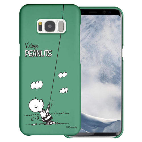 Galaxy S6 Edge Case [Slim Fit] PEANUTS Thin Hard Matte Surface Excellent Grip Cover - Small Charlie Brown