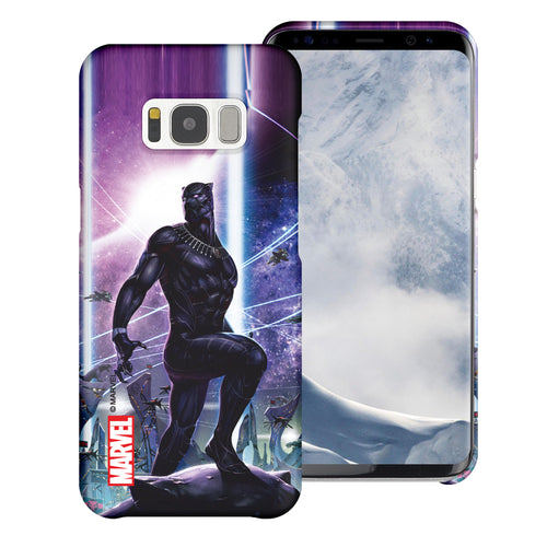 Galaxy S6 Case (5.1inch) Marvel Avengers [Slim Fit] Thin Hard Matte Surface Excellent Grip Cover - Black Panther Stand
