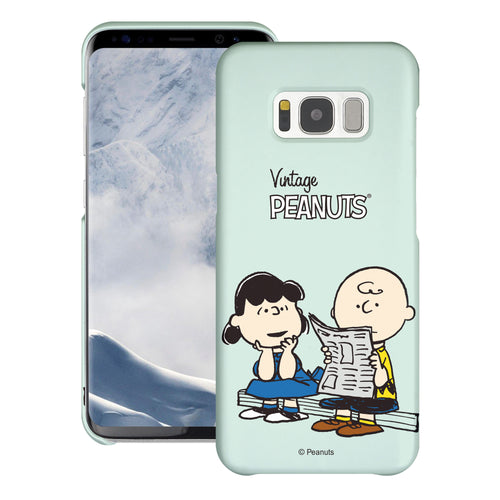 Galaxy S8 Case (5.8inch) [Slim Fit] PEANUTS Thin Hard Matte Surface Excellent Grip Cover - Vivid Charlie Brown Lucy