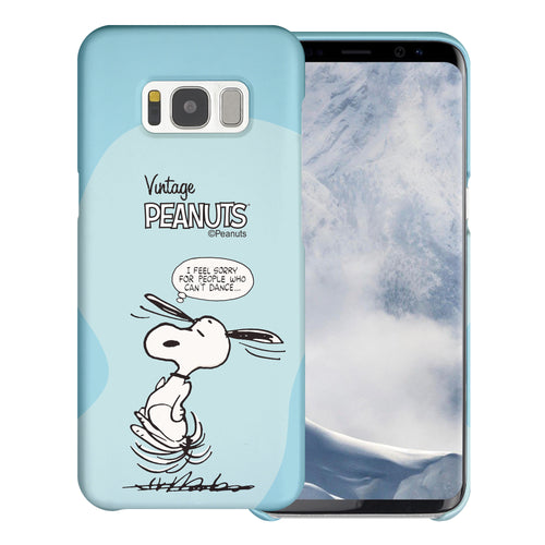 Galaxy S8 Plus Case [Slim Fit] PEANUTS Thin Hard Matte Surface Excellent Grip Cover - Cartoon Snoopy Dance