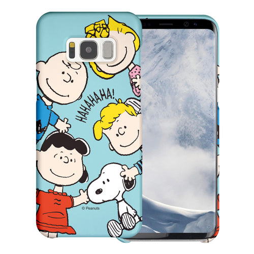Galaxy S8 Plus Case [Slim Fit] PEANUTS Thin Hard Matte Surface Excellent Grip Cover - Peanuts Friends Face