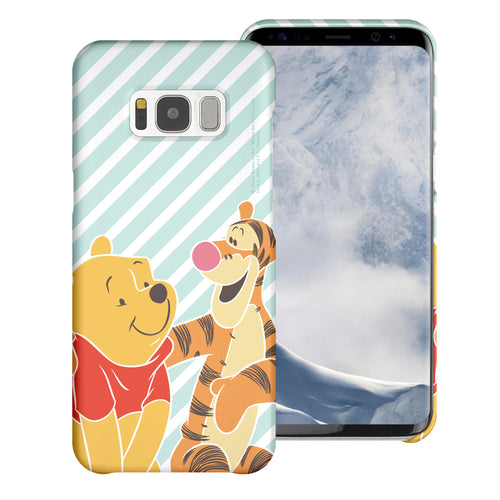 Galaxy S7 Edge Case [Slim Fit] Disney Pooh Thin Hard Matte Surface Excellent Grip Cover - Stripe Pooh Tigger