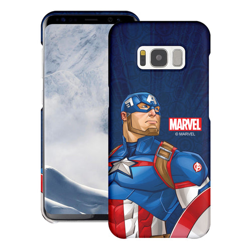 Galaxy S6 Case (5.1inch) Marvel Avengers [Slim Fit] Thin Hard Matte Surface Excellent Grip Cover - Illustration Captain America