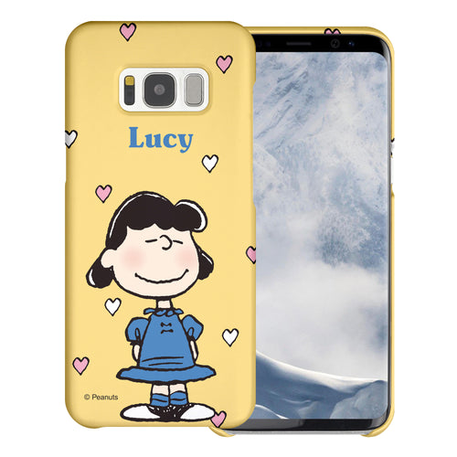 Galaxy S8 Case (5.8inch) [Slim Fit] PEANUTS Thin Hard Matte Surface Excellent Grip Cover - Lucy Heart Stand