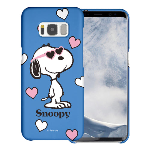 Galaxy S8 Case (5.8inch) [Slim Fit] PEANUTS Thin Hard Matte Surface Excellent Grip Cover - Snoopy Heart Glasses Blue