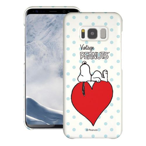 Galaxy S8 Case (5.8inch) [Slim Fit] PEANUTS Thin Hard Matte Surface Excellent Grip Cover - Smack Snoopy Heart