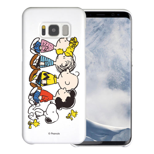 Galaxy S8 Plus Case [Slim Fit] PEANUTS Thin Hard Matte Surface Excellent Grip Cover - Peanuts Friends Stand