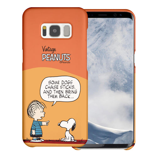 Galaxy S8 Plus Case [Slim Fit] PEANUTS Thin Hard Matte Surface Excellent Grip Cover - Cartoon Linus & Snoopy