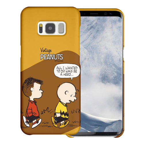 Galaxy S8 Case (5.8inch) [Slim Fit] PEANUTS Thin Hard Matte Surface Excellent Grip Cover - Cartoon Hero