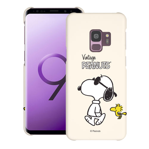 Galaxy S9 Case (5.8inch) [Slim Fit] PEANUTS Thin Hard Matte Surface Excellent Grip Cover - Vivid Snoopy Woodstock
