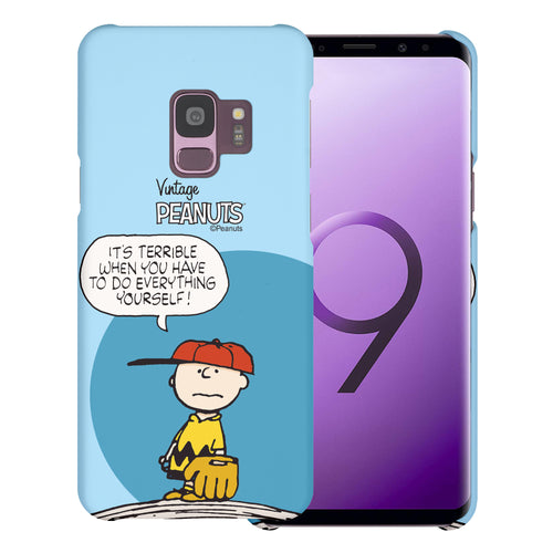 Galaxy S9 Case (5.8inch) [Slim Fit] PEANUTS Thin Hard Matte Surface Excellent Grip Cover - Cartoon Charlie Brown
