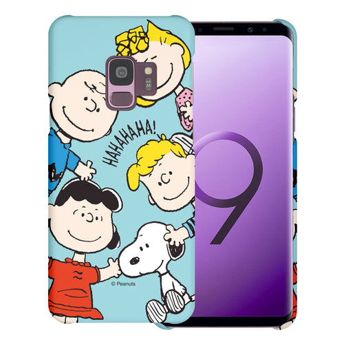 Galaxy S9 Case (5.8inch) [Slim Fit] PEANUTS Thin Hard Matte Surface Excellent Grip Cover - Peanuts Friends Face