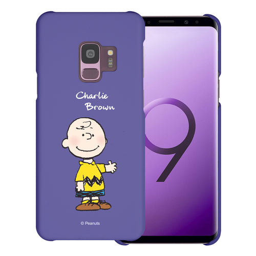 Galaxy S9 Case (5.8inch) [Slim Fit] PEANUTS Thin Hard Matte Surface Excellent Grip Cover - Charlie Brown Stand Purple