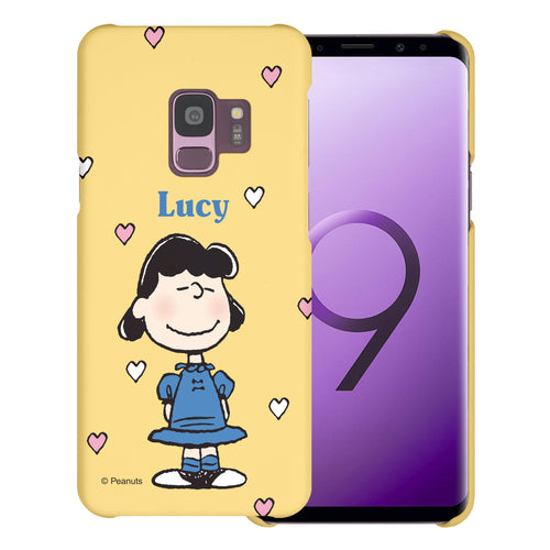 Galaxy S9 Case (5.8inch) [Slim Fit] PEANUTS Thin Hard Matte Surface Excellent Grip Cover - Lucy Heart Stand