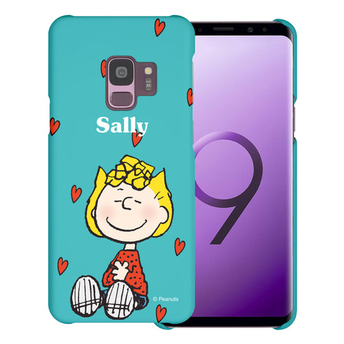Galaxy S9 Case (5.8inch) [Slim Fit] PEANUTS Thin Hard Matte Surface Excellent Grip Cover - Sally Heart Sit