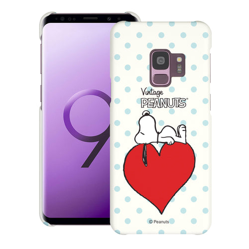 Galaxy S9 Case (5.8inch) [Slim Fit] PEANUTS Thin Hard Matte Surface Excellent Grip Cover - Smack Snoopy Heart