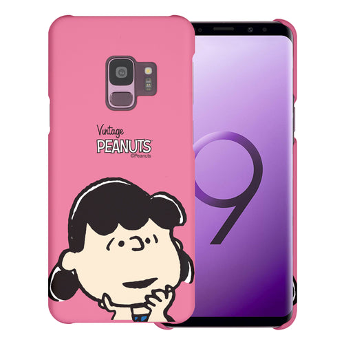 Galaxy S9 Case (5.8inch) [Slim Fit] PEANUTS Thin Hard Matte Surface Excellent Grip Cover - Face Lucy