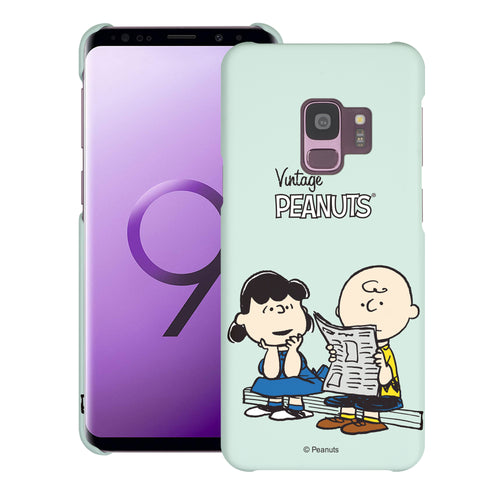 Galaxy S9 Case (5.8inch) [Slim Fit] PEANUTS Thin Hard Matte Surface Excellent Grip Cover - Vivid Charlie Brown Lucy