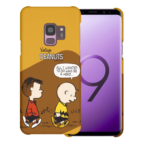 Galaxy S9 Case (5.8inch) [Slim Fit] PEANUTS Thin Hard Matte Surface Excellent Grip Cover - Cartoon Hero