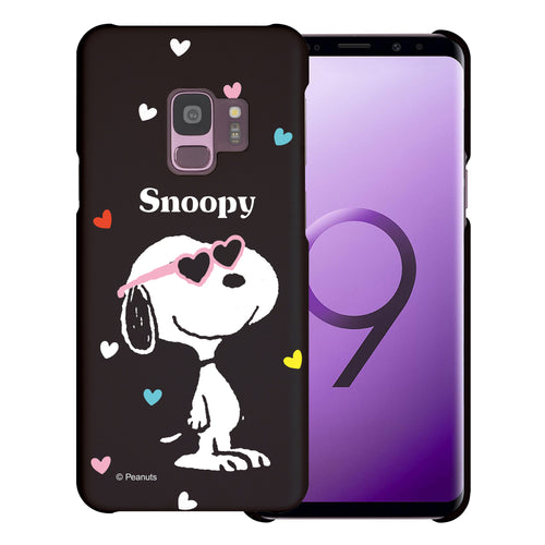 Galaxy S9 Case (5.8inch) [Slim Fit] PEANUTS Thin Hard Matte Surface Excellent Grip Cover - Snoopy Heart Glasses Black