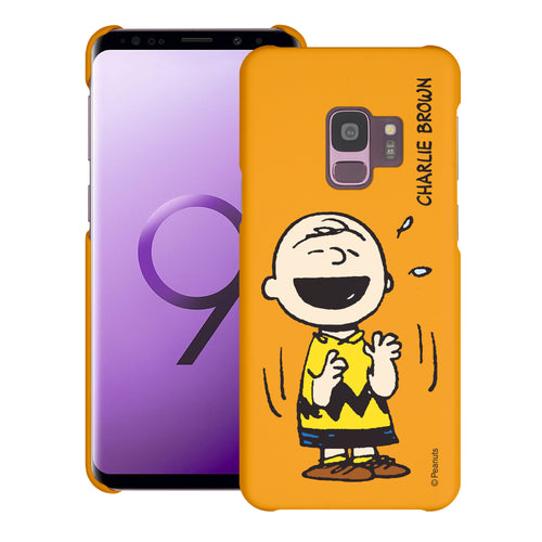 Galaxy S9 Case (5.8inch) [Slim Fit] PEANUTS Thin Hard Matte Surface Excellent Grip Cover - Smile Charlie Brown